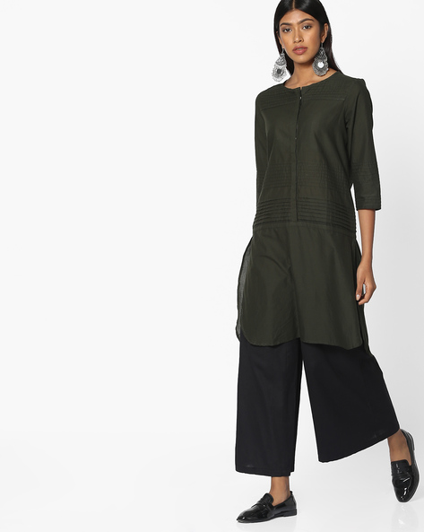 High-Low Pintucked Kurta With Mock Placket By Melange By Lifestyle ( Olive )