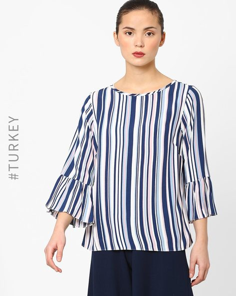 Striped Top With Bell Sleeves By Closet London ( Blue )
