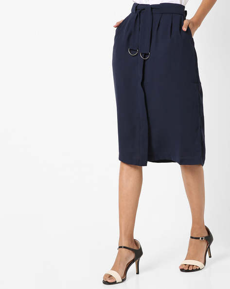 Mid-Rise Skirt With Waist Tie-Up By Project Eve WW Work ( Navy )