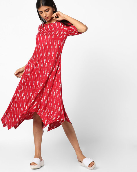 Printed Dress With Handkerchief Hem By AJIO ( Pink )