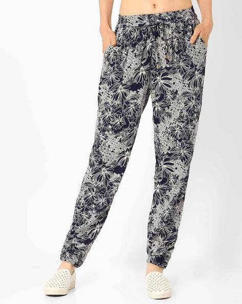 Floral Print Trousers By FIG ( Navy )