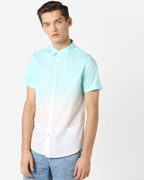 Ombre-Dyed Classic Shirt By AJIO ( Blue )