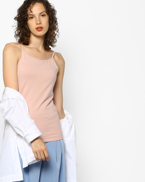 Knitted Spaghetti Top By Project Eve WW Casual ( Peach )