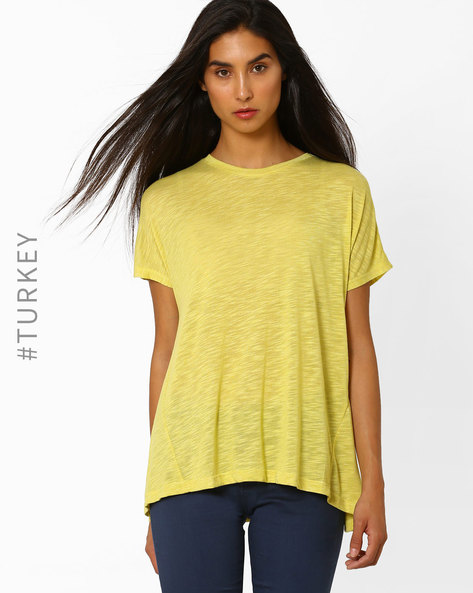 Crew-Neck Top With Dipped Hem By TIFFANY & TOMATO ( Olive )