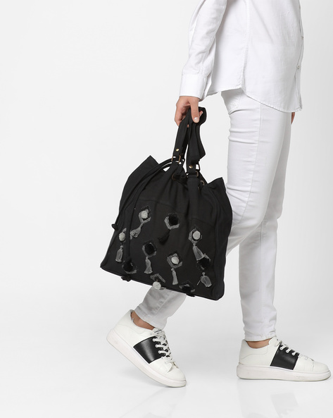 Canvas Tote Bag With Pom-Poms By THEEA ( Black )