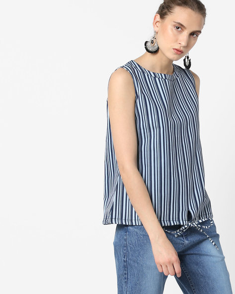 Striped Top With Tie-Up By Blue Saint ( Multi )