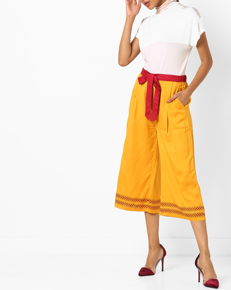 Pleated Culottes With Belt Tie-Up By Bitterlime ( Mustard )