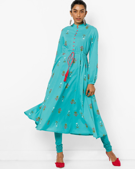 Anarkali Kurta With Tassel Tie-up By AJIO ( Teal )