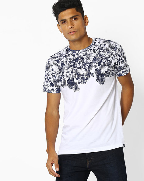 Tropical Print Crew-Neck T-shirt By Teamspirit ( Offwhite )