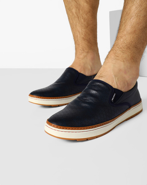 Slip-On Sneakers With Broguing By ESCARO ( Blue )