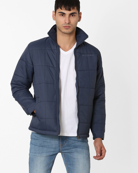 Regular Fit Quilted Jacket By Fort Collins ( Blue )