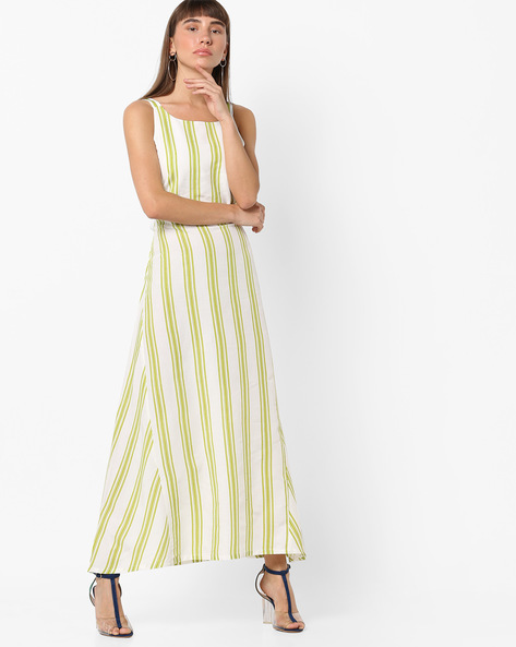 Striped Maxi Dress With Lace-Up Back By AJIO ( Green )