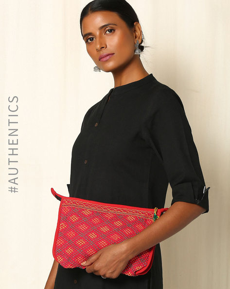 Lambani Embroidered Cotton Pouch By Indie Picks ( Red )