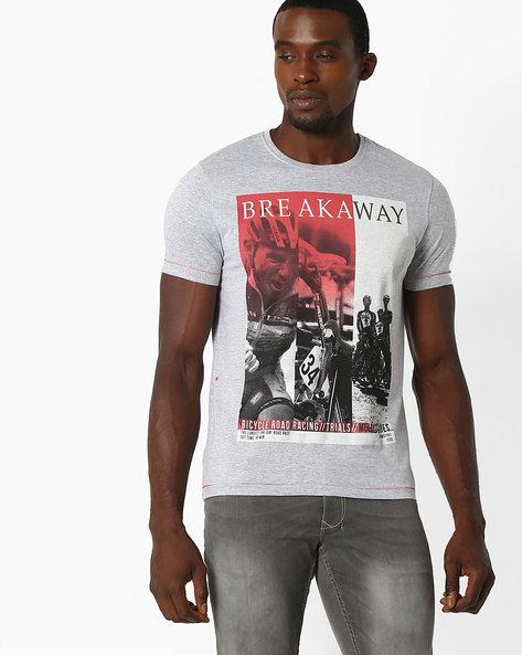Bicycle Print Crew-Neck T-shirt By TEAM SPIRIT ( Greymelange )