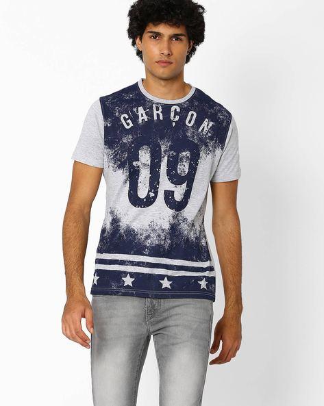 Crew-Neck Pigment Print T-shirt By Garcon ( Greymelange )