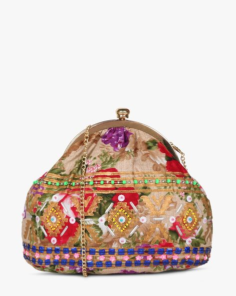 Printed Sling Clutch With Hand Embroidery By Neonia ( Multi ) - 460187212001