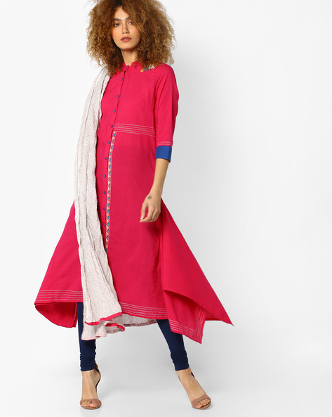 Embroidered Kurta With Printed Dupatta Set By AJIO ( Magenta )