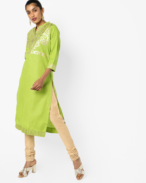 Printed Cotton Kurta With Mandarin Collar By JASHN ( Green )