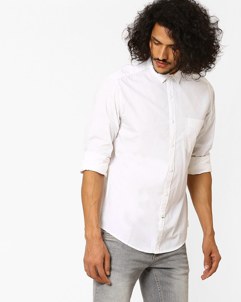 Regular Fit Casual Shirt By Pepe Jeans ( White )