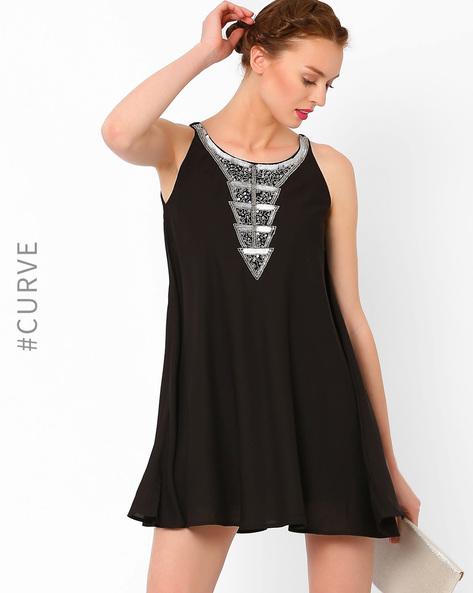 Swing Dress With Embellished Neckline By AJIO ( Black )