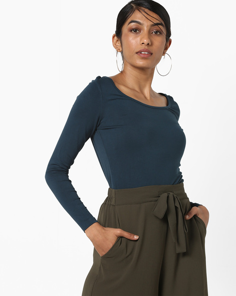 Top With Scoop Neck By CODE By Lifestyle ( Blue )
