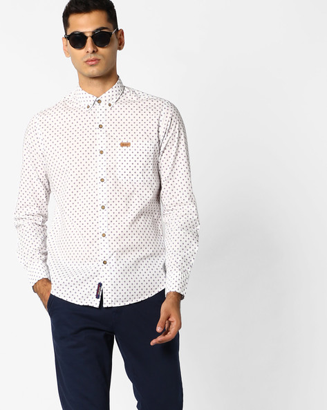 All-Over Print Shirt With Button-Down Collar By US POLO ( Ivory )