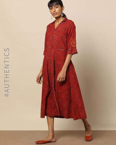 Handblock Print Ajrak Embroidered Cotton Dress By Indie Picks By AJIO ( Maroon )