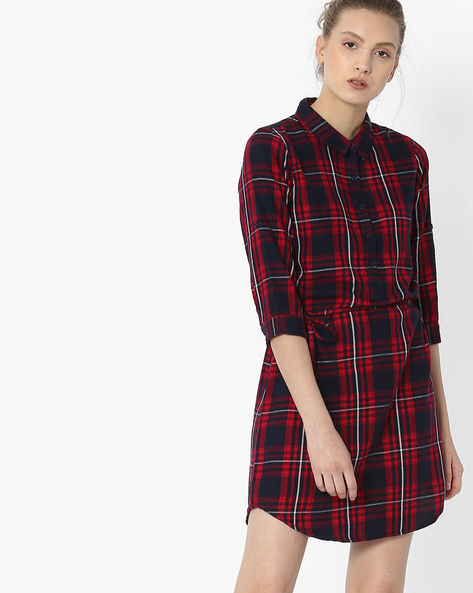 Tartan Plaid Check Shirt Dress By Fame Forever By Lifestyle ( Red )