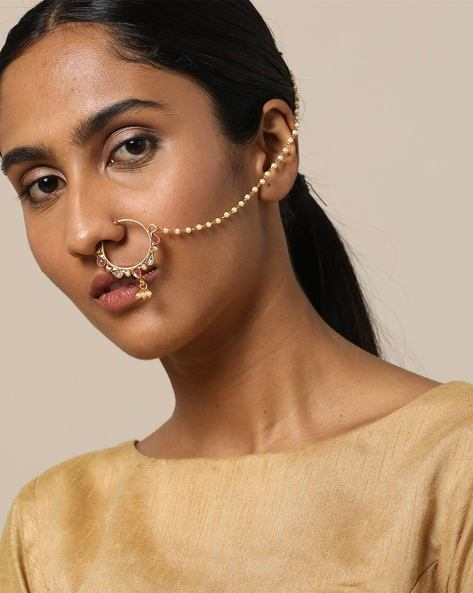 Stone & Peal String Nose Ring By Rubans ( Gold )