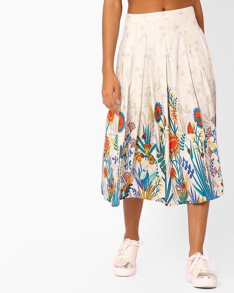 Printed Skirt With Pleats By Global Desi ( Offwhite )