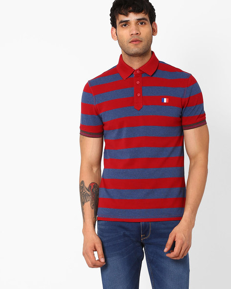Striped Polo T-shirt By Celio ( Indigo )