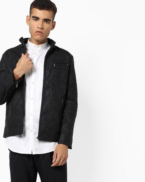 Slim Fit Biker Jacket By The Indian Garage Co ( Black ) - 460132108001
