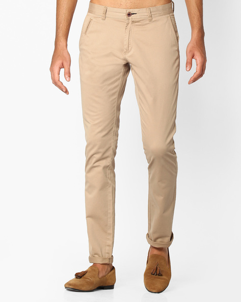Flat-Front Dobby Tapered Chinos By NETPLAY ( Khaki )