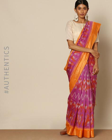 Handloom Ikat Pure Silk Cotton Saree By Rudrakaashe-MSU ( Yellow )