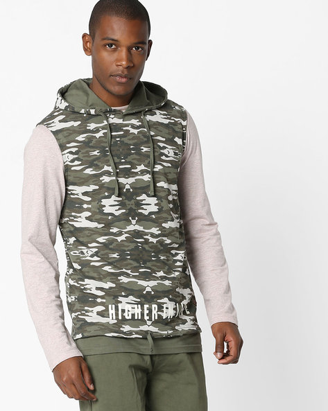 Camouflage Print Sleeveless Hooded Jacket By DNMX ( Olive )