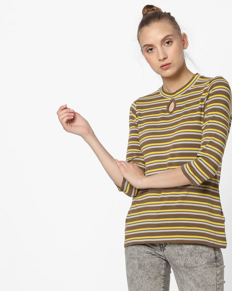 Striped Top With Keyhole By Fame Forever By Lifestyle ( Olive )