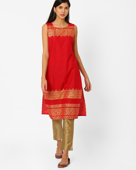 Sleeveless Straight Kurta By AURELIA ( Orange )