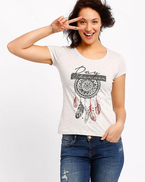Printed T-shirt By AJIO ( Cream )