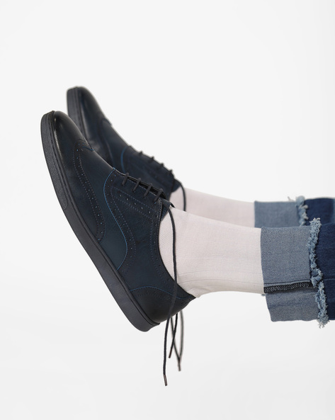 Panelled Lace-Up Casual Shoes By AJIO ( Navy )