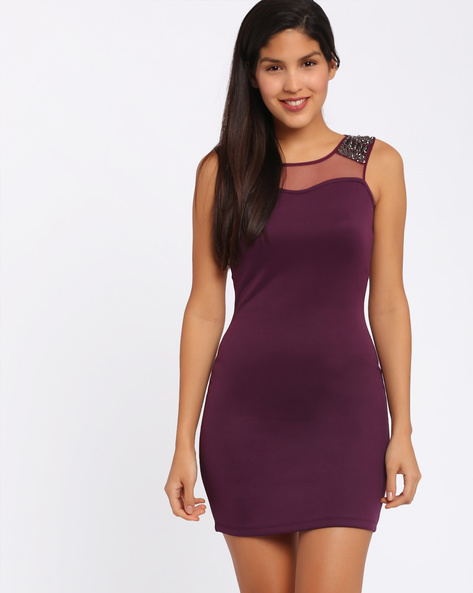 Bodycon Dress By Candies By Pantaloons ( Purple )