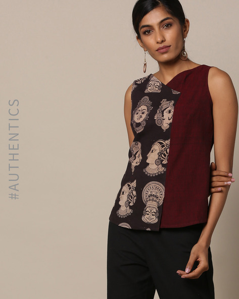 Handloom Cotton Kalamkari Print Sleeveless Top By Pilgrim ( Multi )
