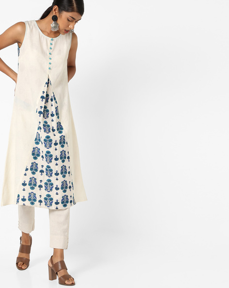 Flared Kurta With Contrast Panel By AJIO ( Blue )
