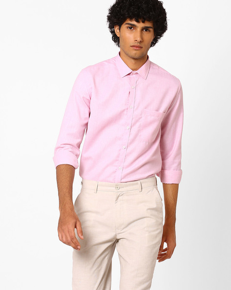 Slim Fit Shirt With Patch Pocket By British Club ( Pink )