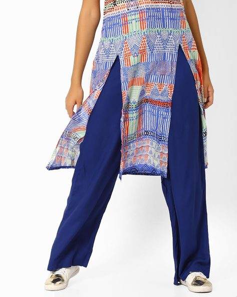 Straight Fit Mid-Rise Pants By Global Desi ( Blue )
