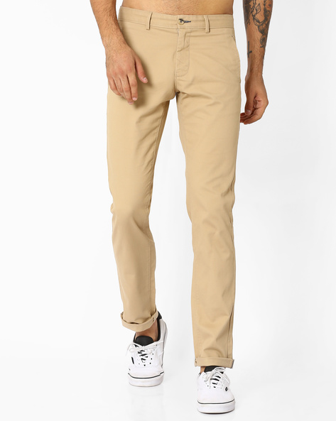 Tapered Fit Dobby Trousers By BASICS ( Beige )