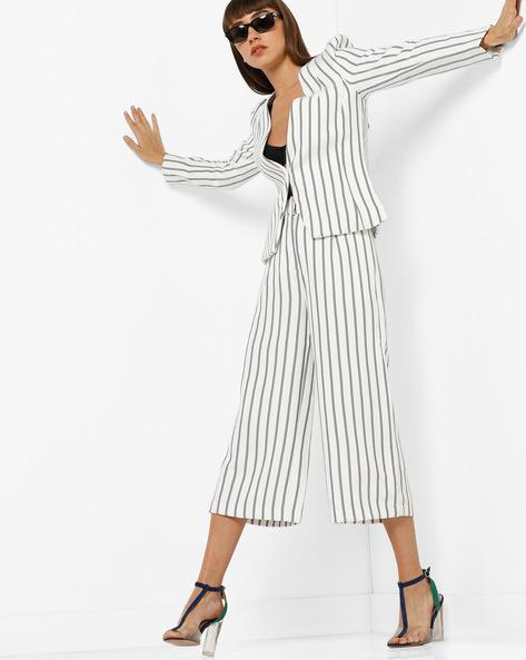 Striped Single-Breasted Blazer By Vero Moda ( White )