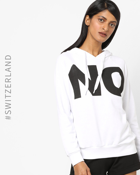 Typographic Print Hoodie With Ribbed Hems By TALLY WEiJL ( White )
