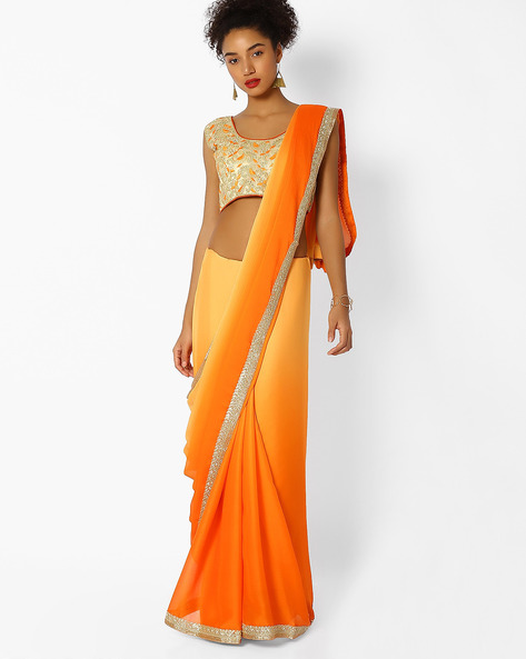 Woven Saree With Embroidered Border By Majestic Silk ( Orange )