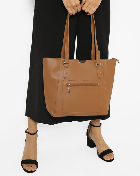 Textured Tote Bag By Lino Perros ( Brown )