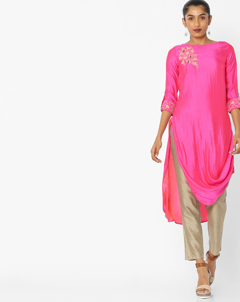 High-Low Kurta With Embroidery By Indian Ink ( Pink )
